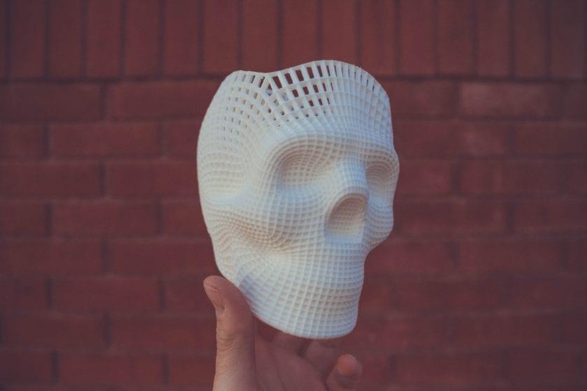 white 3D-printed skull scale model